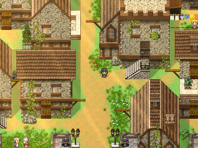 Entrance to the first town by day with various NPC's